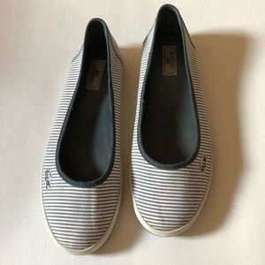 Lacoste Marthe Flats navy and white stripe